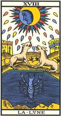 Interprétation de l'arcane de la Lune dans le Tarot de Marseille. - Apprendre le Tarot de Marseille, le Tarot Divinatoire