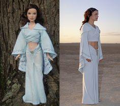"Padme Amidala ""Arrival on Tatooine"" Dress for Barbie Dolls from ""Star Wars: Attack of the Clones"" - by Morgan May @ Stardust Dolls - http://www.stardustdolls.com"