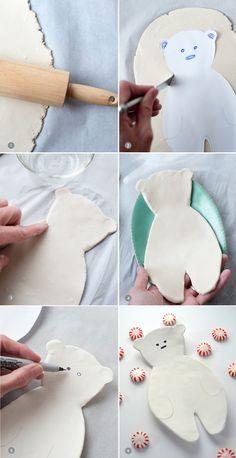 how to make this cute clay polar bear platter