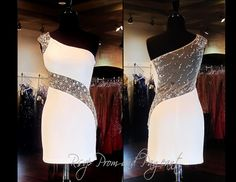 110BP0C1530339 WHITE/NUDE HOMECOMING DRESS This Gorgeous Dress has one Cap Sleeve covered with Round Gems and a Sheer Back covered with Gems and Rhinestones trailing to the Front Midriff and Side. Stunning and ONLY at Rsvp Prom and Pageant in Lawrenceville, Georgia. Buy it NOW at http://rsvppromandpageant.net/collections/short-dresses/products/110bp0c1530339-white-nude-homecoming-dress