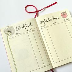 Wish List & Gift Ideas for BuJo page layout. Do you want to start a bullet journal? Check out these 23 Awesome Bullet Journal Ideas to Get You Motivated! Bullet Journal Wishlist, Bullet Journal Gifts, Planner Bullet Journal, Bullet Journal Page, My Journal, Bullet Journal Inspiration, Journal Pages, Journal List, Journaling