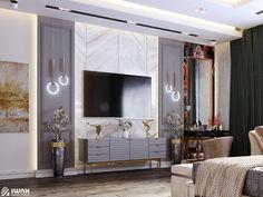Bedroom Tv Unit Design, Tv Unit Bedroom, Tv Unit Furniture Design, Bedroom Tv Wall, Tv Wall Design, Master Bedroom Design, Bedroom Decor, Lcd Panel Design, Interior Design Presentation