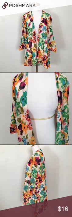 Boutique bright colored tropical floral kimono Boutique bright colored tropical floral kimono Tops