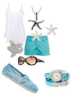 Cute summer outfit with turquoise wrap watch!