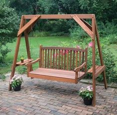 Great American Woodies Red Cedar Hanging Porch Swing Frame - 82035 love the spot to hold drinks etc. Porch Swing Frame, Garden Swing Seat, Backyard Swing Sets, Wood Swing, Backyard Seating, Wooden Swing Frame, Backyard Ideas, Patio Ideas, Wooden Swing Set Plans