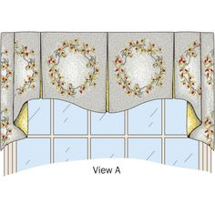 A choice of three different valance designs, using inverted pleats.