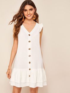 To find out about the Tiered Ruffle Hem Button Front Tea Dress at SHEIN, part of our latest Dresses ready to shop online today! Belted Shirt Dress, Smock Dress, Ruffle Dress, Dot Dress, Swag Dress, Dress Shoes, Elegant Dresses, Casual Dresses, Summer Dresses