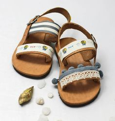 a26b7c1275 Sandals for toddler – Greek sandals with pompon and bee stamps make cute  shoes gift for baby girl coming home. Handmade baby shoes gift idea