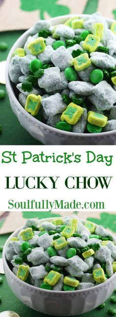 St. Patrick's Day Lucky Chow. It's puppy chow Leprechaun style! Candy melts, peanut butter, and powered sugar tossed with fun green candies and shamrock marshmallows. #stpatricksday #puppychow #muddybuddies #snack