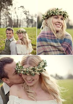 White flower crown of wheat, wax flower, and eucalyptus from UK designer fairy nuff flowers - Photos by Marianne Taylor Photography via Junebug Weddings Winter Wedding Flowers, Romantic Flowers, Bridal Flowers, Flower Garlands, Flower Crowns, Wax Flowers, Flowers In Hair, Crown Hairstyles, Bride Hairstyles