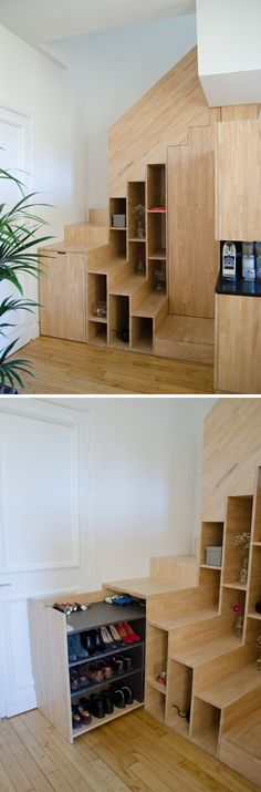 Pull-out shoe storage was designed for the space under these stairs These stairs have built-in shelves and hidden shoe storage. Staircase Storage, Stair Storage, Shoe Storage, Storage Ideas, Tiny Living, Home And Living, Espace Design, Built In Furniture, Container House Plans
