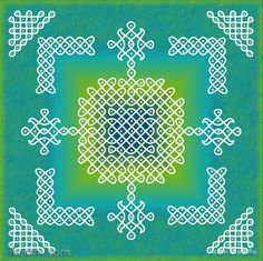 [Sikku Kolam] Indian Digital Kolam Mandala : Kolam is a traditional Indian floor art composed of curved loops and lines in Fibonacci series. These intricate patterns are believed to be the sacred geometric manifestations of soothing sound vibrations.