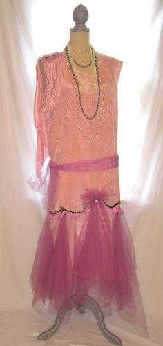 Great Gatsby Long Sleeveless Size 16 Dusty Pink Lavender V Neck Women's Dress, Plus Size Gatsby Dress
