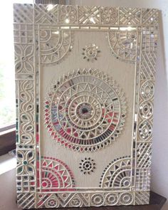लिप्पन Pic courtesy:pintrest Found this beautiful art work and my version will soon be uploaded. some ideas for this festive se. Clay Wall Art, Mural Wall Art, Madhubani Art, Madhubani Painting, Worli Painting, Fabric Painting, Rajasthani Art, Mirror Crafts, Clay Art Projects