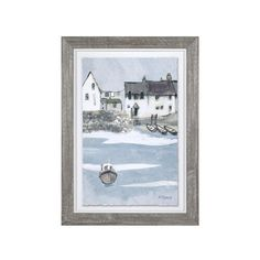 'Coastal Cottages' Framed Print on Glass Brambly Cottage Painting Frames, Painting Prints, Art Prints, Watercolour Painting, Contemporary Frames, Glass Printing, Framed Prints, Canvas Prints, Traditional Paintings