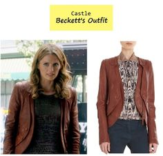 "On the blog: Kate Beckett's (Stana Katic) brown leather jacket with removable vest | Castle - ""Number One Fan"" (Ep. 604) #tvstyle #tvfashion #outfits #fashion"
