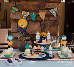 Nautical Baby Shower Party decorations and treats! See more party ideas at CatchMyParty.com!