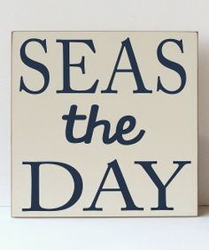 Cream & Navy 'Seas the Day' Plaque