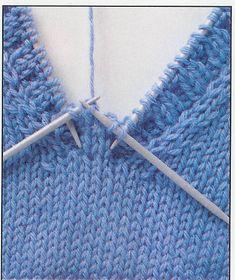 Einblicke in Funny`s bezaubernde Strickwelt. – Der V-Ausschnitt => verschiedene … – Harika El işleri-Hobiler Baby Hats Knitting, Sweater Knitting Patterns, Knitting Stitches, Tricot Simple, Crochet Baby, Knit Crochet, Knit Headband Pattern, Knitting Projects, Stitch Patterns