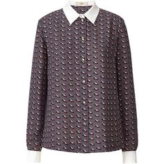 Orla Kiely Resort Collection Ditsy Shoe Blouse (40.845 HUF) ❤ liked on Polyvore featuring tops, blouses, slate grey, long sleeve tops, long sleeve blouse, button blouse, button top and orla kiely