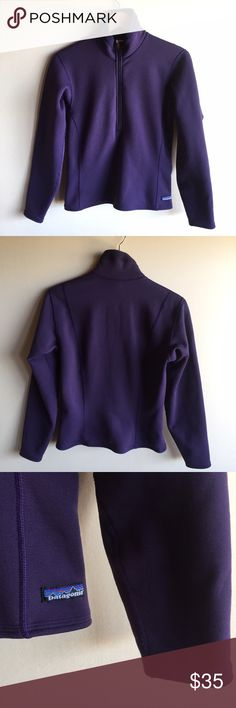 """Patagonia fleece lined half zip pullover Warm and cozy pullover by Patagonia in deep purple. Outside is smooth, inside is fleece. The collar portion is fleece and does have some pilling/wash wear as pictured. Otherwise great condition. Measures 18"""" from underarm to underarm and 24"""" long. Poly/nylon/spandex. Patagonia Tops Sweatshirts & Hoodies"""