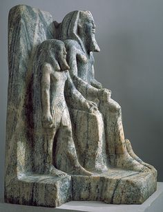 King Sahure and a nome god, Old Kingdom, Dynasty 5, reign of Sahure, ca. 2458–2446 B.C.  Egyptian  Gneiss