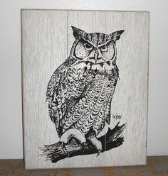 Vintage Wall Art Owl Wall Decor Black & White by TheBackShak, $35.00