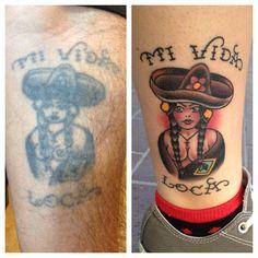 I had my dad's tattoo re-created on my leg. Artist: Dan Smith of Captured Tattoo in Tustin, Ca.