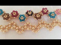 Flower Path Bracelet Part Beaded Necklace Patterns, Beaded Bracelets Tutorial, Seed Bead Bracelets, Handmade Bracelets, Beading Patterns, Beaded Jewelry, Handmade Jewelry, Free Beading Tutorials, Diy Crafts Jewelry