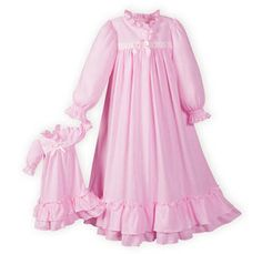 Clara's Pink girls' nightgown with matching doll gown.USA made.Fits most dolls Dresses For Tweens, Gowns For Girls, Girls Dresses, Baby Nightgown, Baby Dress, Flannel Nightgown, Girls Special Occasion Dresses, Kids Gown, Girls Sleepwear