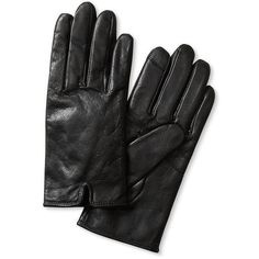 Banana Republic Notched Leather Glove Size S - Black (5.285 RUB) ❤ liked on…