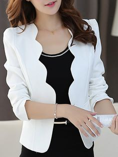 Single Button Plain Long Sleeve Blazers OnlyIsn't this simple, but stylish Scallop Neck Single Button Blazer perfect for that professional look for the work world? It comes in 6 colors!Scalloped Trim Single Button Blazer For Women Spring 2017 Casual Blazer Outfits Casual, Blazer Fashion, Fashion Outfits, Dress Outfits, Work Outfits, Womens Fashion, Family Outfits, How To Wear Blazers, Blazers For Women