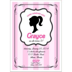 Glamour Girl Barbie Inspired Birthday Party Printable Invitation