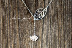 I love this!!   Bird Lariat Necklace Silver Necklace Bridesmaid by ReinaJewelry, $23.00