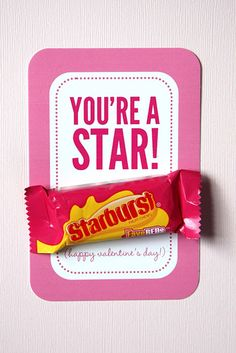 You're a Star (burst) Valentine! Valentines Day Card Sayings, Valentines For Kids, Valentine's Cards For Kids, Valentine's Day Printables, Cupcakes, Cupcake Cakes, Note, Candy, Holiday