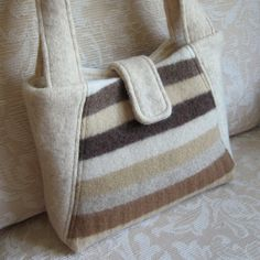 Felted Wool Sweater Handbag made from felted repurposed wool sweaters