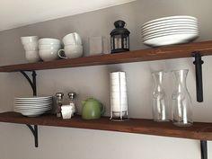 Little Brick Home: Decorating Open Shelving Decor, Living Room Inspiration, Open Shelving, Beautiful Dining Rooms, Dining Room Decor, Shelving, Home Decor, Apartment Decor, Oak Kitchen