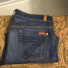 7 for all man kind - Dojo jeans Dark stone wash. Worn once. Wide leg. Size 30. 87% cotton. 12% polyester. 1% spandex.  29 inch inseam. 7 for all Mankind Jeans Flare & Wide Leg
