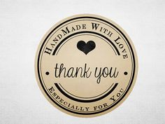 Thank You Stickers - Printable Kraft Stickers - Business Branding - Handmade with Love - Circle on Etsy, $5.00