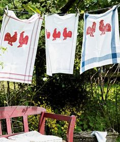 For me, these Rooster dish towels make a great backdrop for an afternoon lunch with the girls. Red Hen, Red Rooster, Dish Towels, Tea Towels, Hand Towels, What A Nice Day, Laundry Drying, Smelly Laundry, Rooster Kitchen