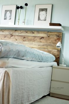 DIY headboard: I really like the barnboard + white floating shelf combo.