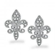 KC Designs Diamond Fleur Di Lis Earrings