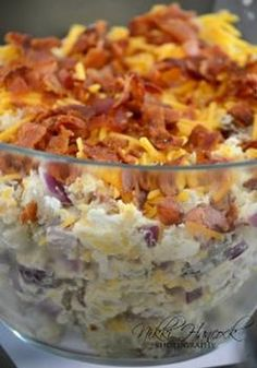Fully Loaded Baked Potato Salad One 5 pound bag medium Russet Potatoes 1 cup sour cream cup mayonnaise 1 package of bacon, cooked and crumbled 1 small onion, chopped Chives, to taste 1 cups shredded cheddar cheese Salt and pepper to taste Loaded Baked Potato Salad, Ranch Potato Salad, Sour Cream Potato Salad, Russet Potato Salad Recipe, Chicken Potato Salad, Potato Food, Salad Cream, Potato Dishes, Tasty