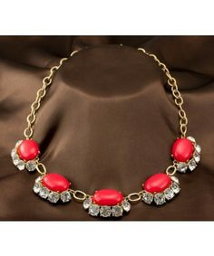 J.Crew Luxurious Red Egg Shape Gem Crystal Exaggerate Alloy Necklaces & Pendants