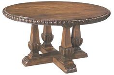 Belle Star Western Table Western Dining Tables - Round solid wood pedestal table has carved edge and four pedestal base with unique wood detail.