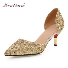 Meotina Ladies Bridal Shoes Sliver Weeding Shoes Women High Heels hoes Two Piece Spring Summer Party Pumps Black Big Size 10 43
