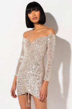 Ruched front off the shoulder sequin embellished mini dress by AKIRA. Plus Dresses, Satin Dresses, Sexy Dresses, Pretty Dresses, Girls Fashion Clothes, Girl Fashion, Hijab Fashion, Sequin Mini Skirts, Sexy Party Dress