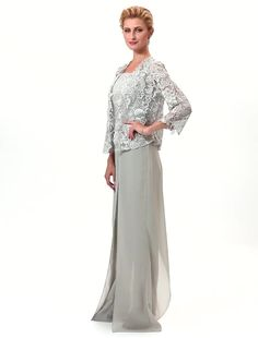 Pantsuit Straps Floor Length Chiffon Corded Lace Mother of the Bride Dress with Appliques Lace Pleats Split Front by LAN TING BRIDE® 6263918 2018 – £133.39