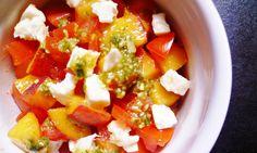 Peach and tomato salad with mozzarella and pesto dressing. Photograph: Rachel Kelly