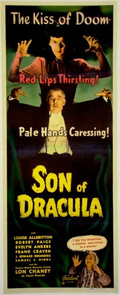 From Greggory's Shock Theater:  Realart rerelease poster for Son Of Dracula (1943)